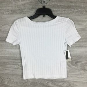 BP White Ribbed Short Sleeve Tee